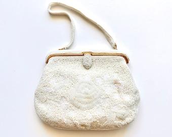 Vintage 40s 50s Romantic Micro Beaded White Floral Handbag // Wedding Clutch Purse // Bridal Bag
