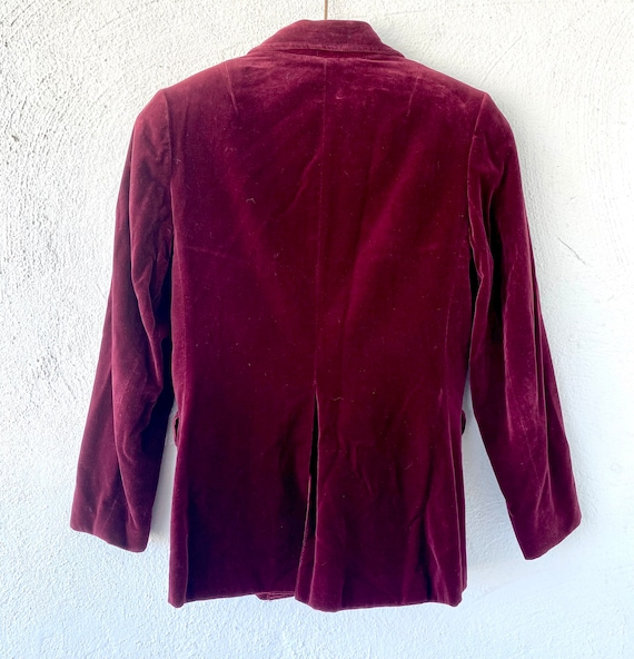 Vintage 70s 80s Velvet Red Blue Blazer Lightweigh… - image 8