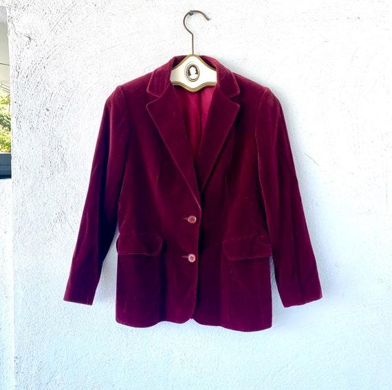 Vintage 70s 80s Velvet Red Blue Blazer Lightweigh… - image 2