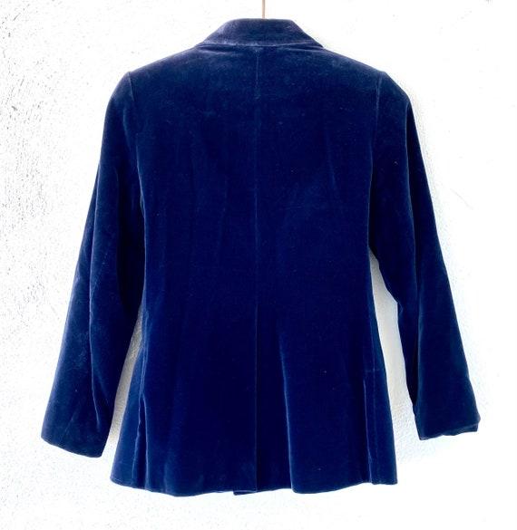 Vintage 70s 80s Velvet Red Blue Blazer Lightweigh… - image 9