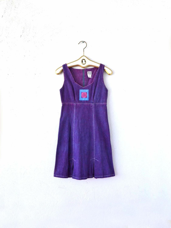 98ac0ef5a7 Vintage 90s Denim Jumper Dress    Boho Purple Dyed Jean Asian