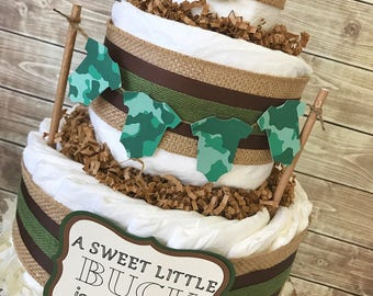 Hunting Baby Shower Diaper Cake, Camo Baby Shower Centerpiece, Camo Baby Shower Decorations