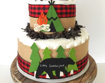 Little Lumberjack Diaper Cake, Cabin Fever Baby Shower Centerpiece, Woodland Baby Shower Decorations