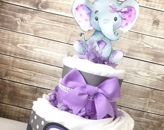 Elephant Diaper Cake in Lavender and Gray, Elephant Baby Shower Centerpiece, Elephant Baby Shower Decoration
