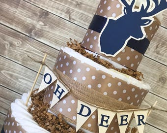 Oh Deer Diaper Cake, Oh Deer A Baby is Almost Here Centerpiece, Deer Baby Shower Decoration