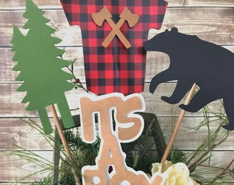 Lumberjack Party Centerpiece, Lumberjack Baby Shower Centerpiece, Buffalo Plaid Party Decorations