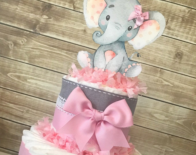 Featured listing image: Little Peanut Diaper Cake in Pink and Gray, Elephant Baby Shower Centerpiece, Pink and Gray Baby Shower Decorations