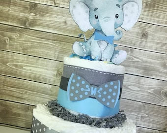 Elephant Diaper Cake for Boys, Little Peanut Baby Shower Centerpiece in Blue and Gray, Elephant Baby Shower Decorations