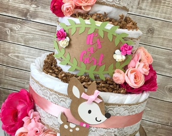 Floral Woodland Diaper Cake for Girls, Rustic Floral Baby Shower Centerpiece, Shabby Chic Baby Shower Decoration