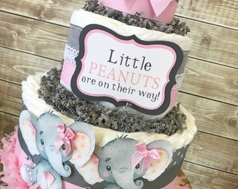 Little Peanut Diaper Cake for Girls, Elephant Baby Shower Centerpiece, Elephant Baby Shower Decorations for Twins