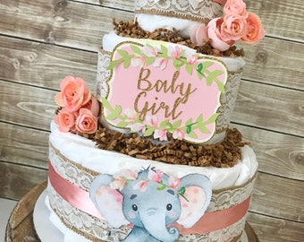 Floral Elephant Diaper Cake, Elephant Baby Shower Centerpiece for Girls, Elephant Baby Shower Decorations in Pink