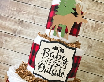 Buffalo Plaid Baby Shower Diaper Cake, Winter Buffalo Plaid Baby Shower Decorations