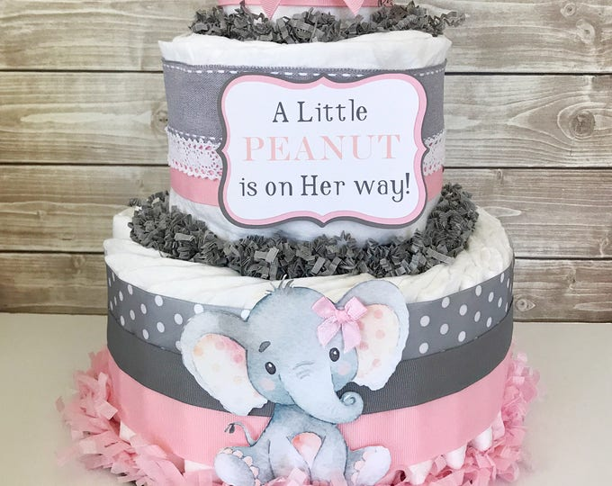 Featured listing image: A Little PEANUT is on Her way Diaper Cake, Elephant Baby Shower Centerpiece, Elephant Baby Shower Decorations
