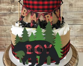 Lumberjack Diaper Cake (2 tier) in Buffalo Plaid, Lumberjack Baby Shower Centerpiece, Buffalo Check Decorations