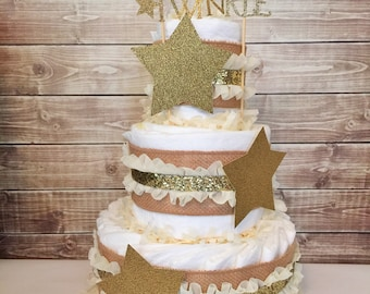 Twinkle Twinkle Little Star Diaper Cake in Cream and Gold, Twinkle Twinkle Little Star Baby Shower Centerpiece