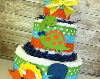 Dinosaur Diaper Cake, Dinosaur Baby Shower Centerpiece