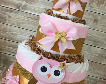 Owl Diaper Cake in Pink and Gold, Owl Baby Shower Centerpiece, Pink and Gold Baby Shower Decorations