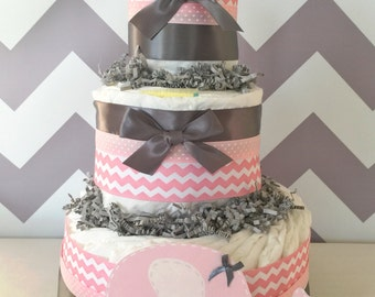 Chevron Elephant Diaper Cake in Pink and Grey, Elephant Baby Shower Centerpiece for Girls, Elephant Baby Shower Decoration in Pink and Grey