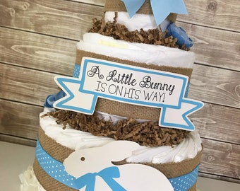 A Little Bunny is in His way Diaper Cake, Bunny Baby Shower for Boys, Bunny Shower Decoratins, Boy Baby Shower Ideas