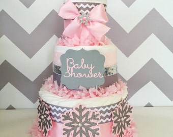 Chevron Winter Baby Shower Centerpiece in Pink and Gray, Winter Baby Shower Diaper Cake, Snowflakes