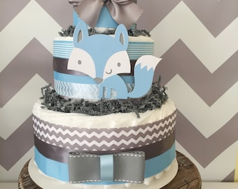 Woodland Fox Diaper Cake in Blue and Gray, Woodland Baby Shower Centerpiece, Fox Decoration
