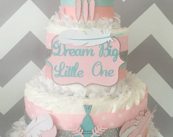 Dream Big Little One Diaper Cake in Pink, Ming and Silver