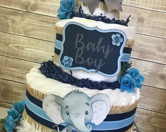 Elephant Baby Shower Diaper Cake, Elephant Centerpiece for Boys, Baby Boy Baby Shower Decoration
