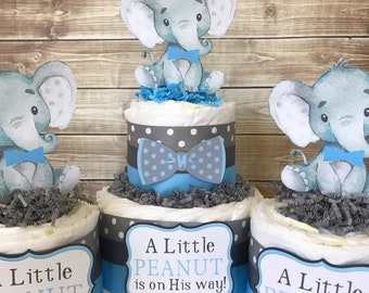 Set of 3 Elephant Diaper Cakes in Blue and Gray, Elephant Baby Shower Centerpieces