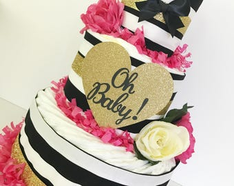 Oh Baby Floral Black and White Diaper Cake, Black and White Baby Shower Centerpiece, Baby Shower Decor