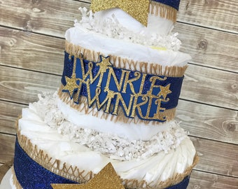 Twinkle Twinkle Little Star Diaper Cake in Navy and Gold, Twinkle Twinkle Baby Shower Centerpiece