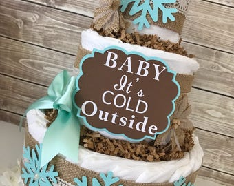 Baby It's Cold Outside in Burlap and Mint, Winter Theme Baby Shower Centerpiece
