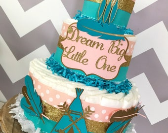 Dream Big Little One Diaper Cake in Teal, Coral and Gold, Tribal Baby Shower Centerpiece, Boho Baby Shower
