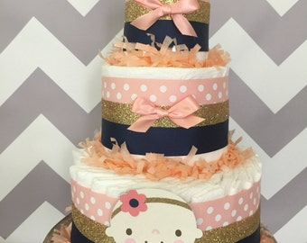 Baby Girl Diaper Cake in Coral, Navy and Gold Glitter, Girl Baby Shower Centerpiece