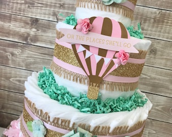 Oh The Places She'll Go Hot Air Balloon Diaper Cake, Hot Air Balloon Baby Shower Centerpiece