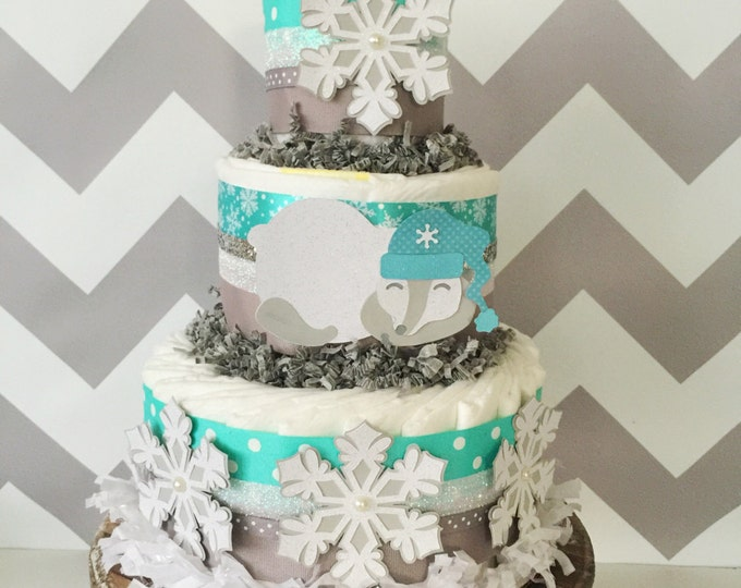 Featured listing image: Winter Snowflake Diaper Cake, Polar Bear Centerpiece, Snowflake Baby Shower Decoration