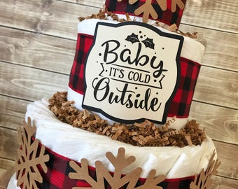 Baby It's Cold Outside Buffalo Plaid Diaper Cake, Buffalo Plaid Winter Theme Baby Shower Centerpiece, Buffalo Check Decorations