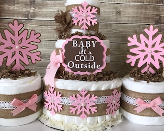 Baby It's Cold Outside Trio in Pink and Burlap, Winter Baby Shower Centerpiece for Girls, Winter Wonderland Shower