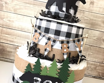 Lumberjack Diaper Cake in Black and White Buffalo Check, Buffalo Check Baby Shower Centerpiece, Woodland Baby Shower Decoration