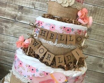 Hello World Baby Shower Centerpiece, Spring Baby Shower Diaper Cake, Hello World Decoration for Girls