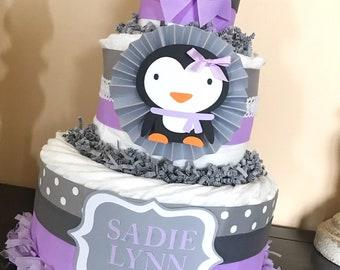 Penguin Diaper Cake in Lavender and Gray, Penguin Baby Shower Centerpiece