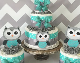SET OF 3 Owl Diaper Cakes in Turqoise/Teal, Gray and White, Owl Baby Shower Centerpieces