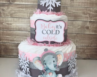 Elephant Winter Diaper Cake, Baby it's Cold Outside Baby Shower, Elephant Baby Shower Decoration