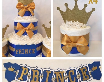Prince Baby Shower Party Package in Royal Blue and Gold, Prince Theme Baby Shower Decorations, Centerpiece