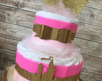 Princess Diaper Cake in Pink and Gold, Princess Crown Baby Shower Centerpiece, Little Princess Baby Shower Decoration