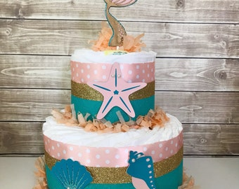 Mermaid Diaper Cake, 2 tier, Mermaid Baby Shower Centerpiece