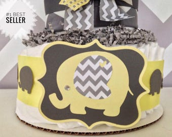 Chevron Elephant Diaper Cake Yellow, Yellow and Gray Baby Shower Centerpiece