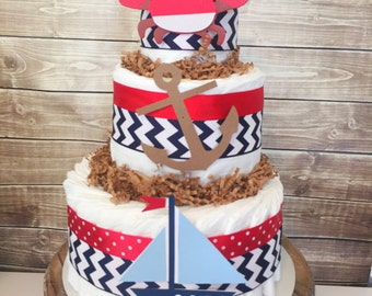 Nautical Diaper Cake for Boys, Nautical Theme Baby Shower Centerpiece