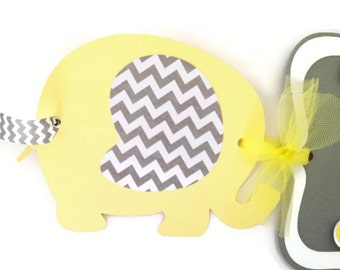 It's a Boy Elephant Baby Shower Banner in Yellow and Gray, Elephant Theme Baby Shower Decorations