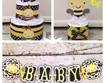 Bumble Bee Baby Shower in a Box, Complete Bee Theme Baby Shower Decorations, Bumble Bee Centerpiece, Bumble Bee Banner