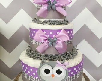 Owl Diaper Cake in Lavender and Gray, Owl Baby Shower Centerpiece